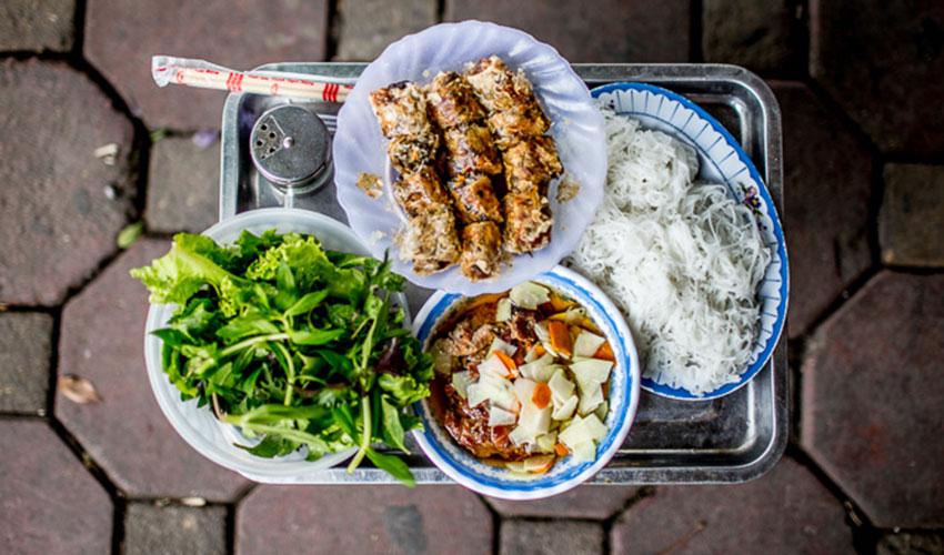 grilled pork and noodles