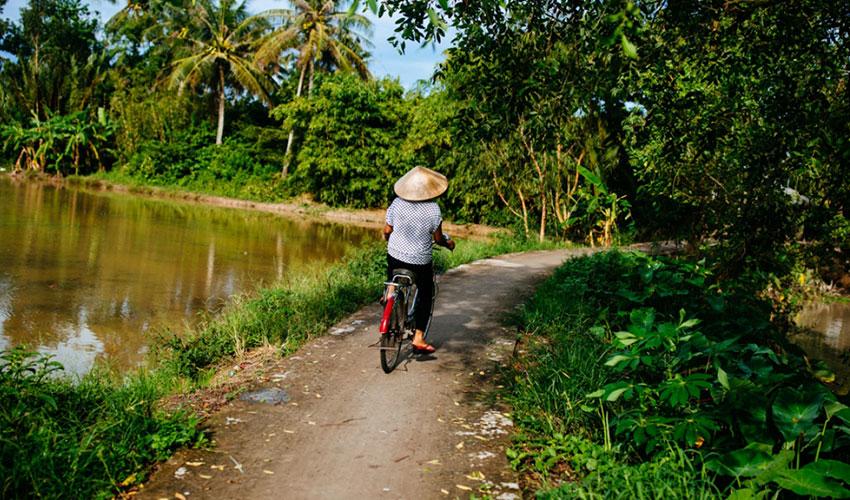 riding bike in Mekong Delta