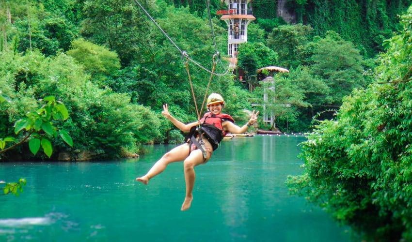 the zipline to dark cave phong nha